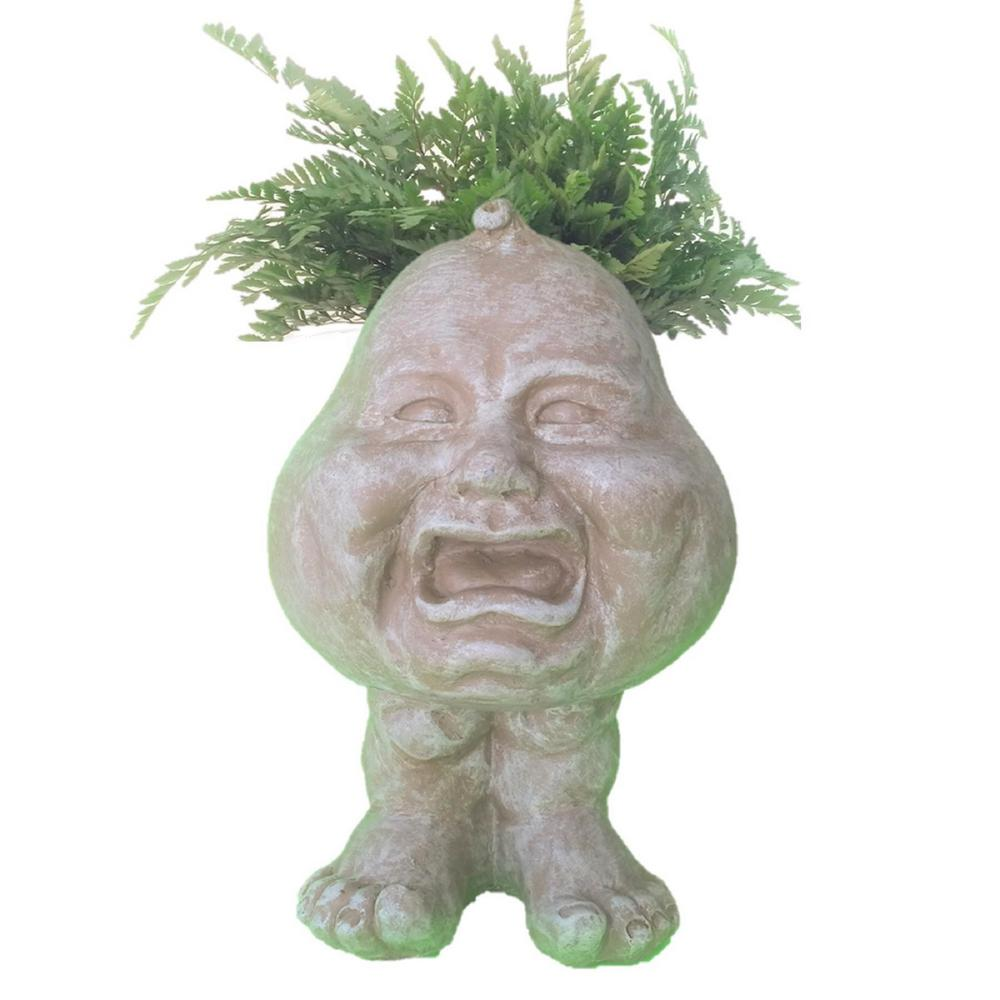 8.5 in. Stone Wash Crying Brother the Muggly Face Statue Planter