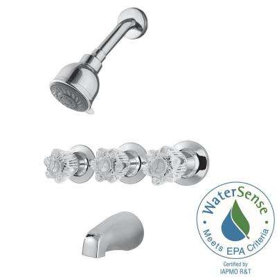 3-Handle 3-Spray Shower Faucet in Polished Chrome (Valve Included)