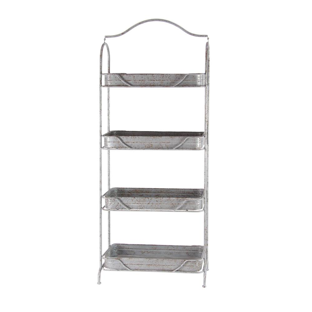 Gray 4-Tiered Garden Shelf Rack