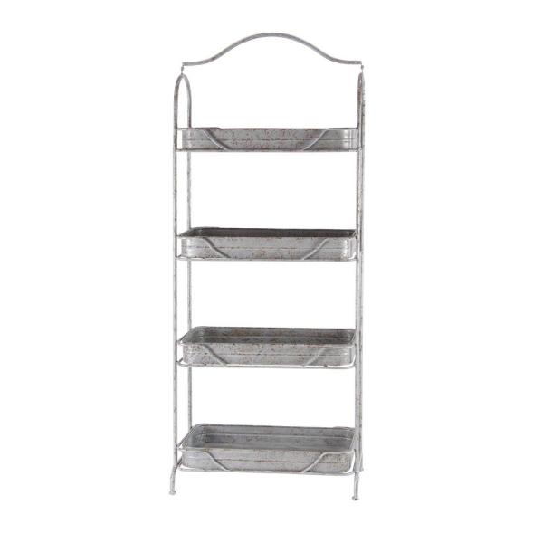 Gray 4-Tiered Garden Shelf Rack 74867