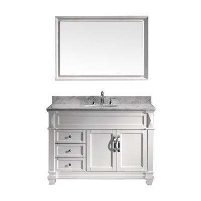 Victoria 49 in. W Bath Vanity in White with Marble Vanity Top in White with Round Basin and Mirror