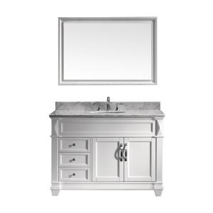 Virtu USA Victoria 48 inch W x 36 inch H Vanity with Marble Vanity Top in Carrara White with White Round Basin and... by Virtu USA