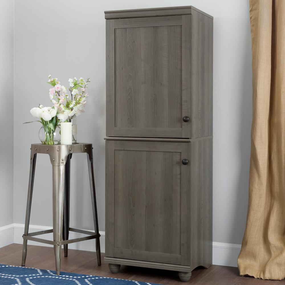 narrow cabinets with doors south shore hopedale gray maple 2 door narrow storage 23676