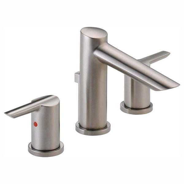 Compel 8 in. Widespread 2-Handle Bathroom Faucet with Metal Drain Assembly in Stainless