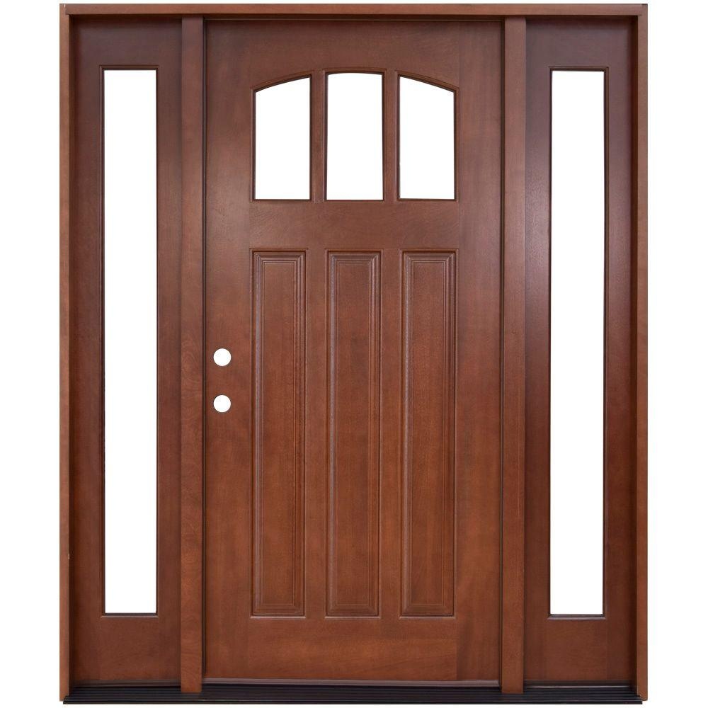 Steves & Sons 64 in. x 80 in. Craftsman 3 Lite Arch Stained Mahogany Wood Prehung Front Door with Sidelites
