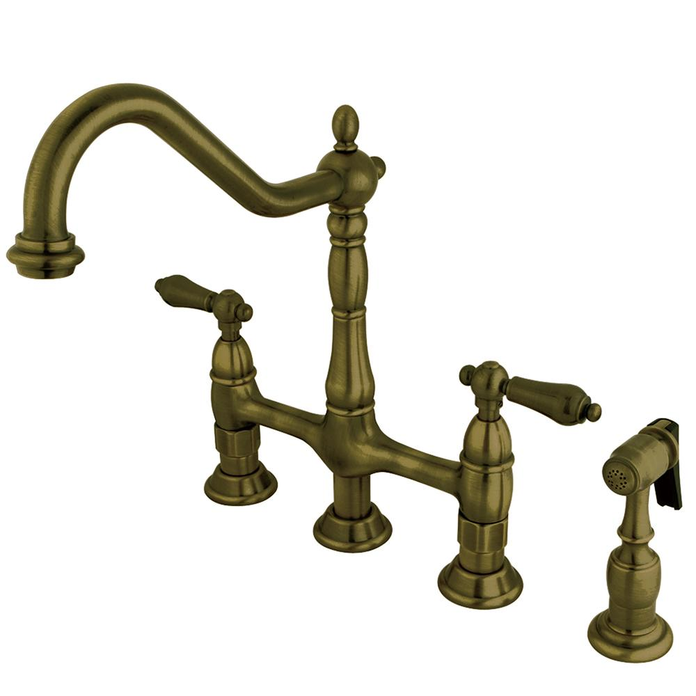 Kingston Brass Victorian Cross 2 Handle Bridge Kitchen