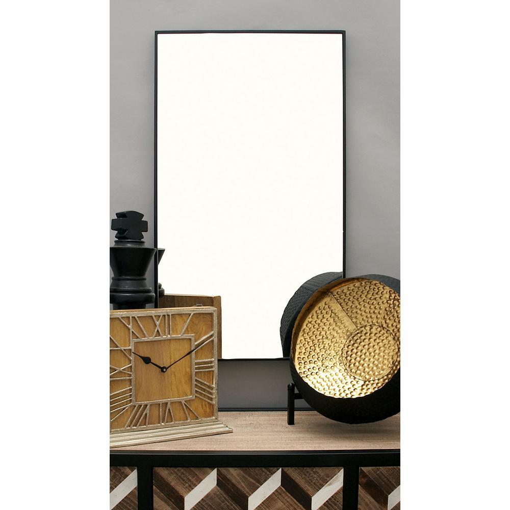 Litton Lane Modern Rectangular Black Wall Mirror