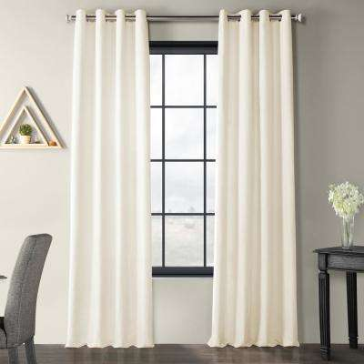 Prairie Cream Ivory Solid Country Cotton Linen Weave Grommet Curtain - 50 in. W x 96 in. L