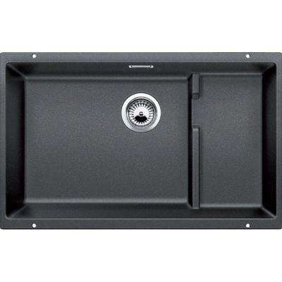 PRECIS Cascade Undermount Granite Composite 29 in. Single Basin Kitchen Sink in Anthracite