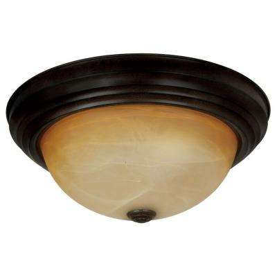 Belen 2-Light Venetian Bronze Flush Mount with Amber Glass Shade