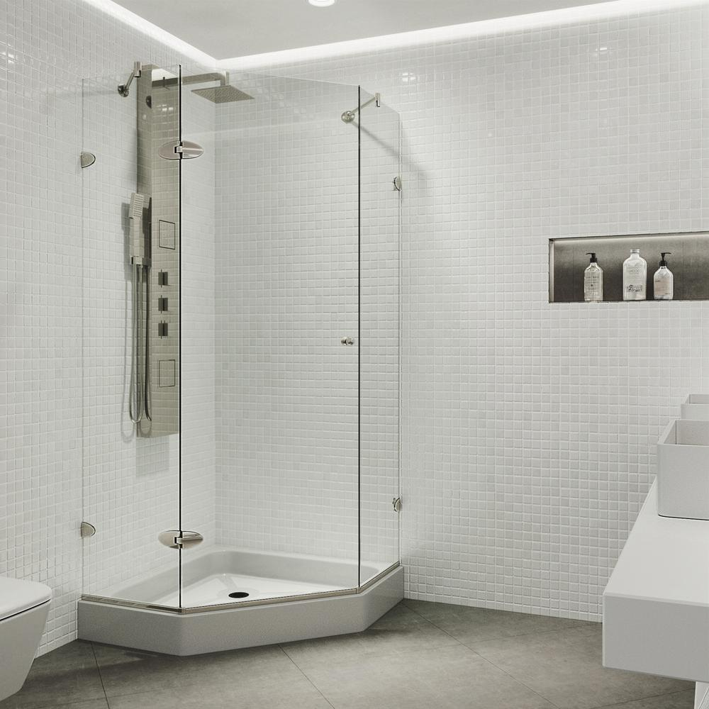 VIGO Verona 36.125 in. x 78.75 in. Frameless Neo-Angle Shower Enclosure in Brushed Nickel with Base in White