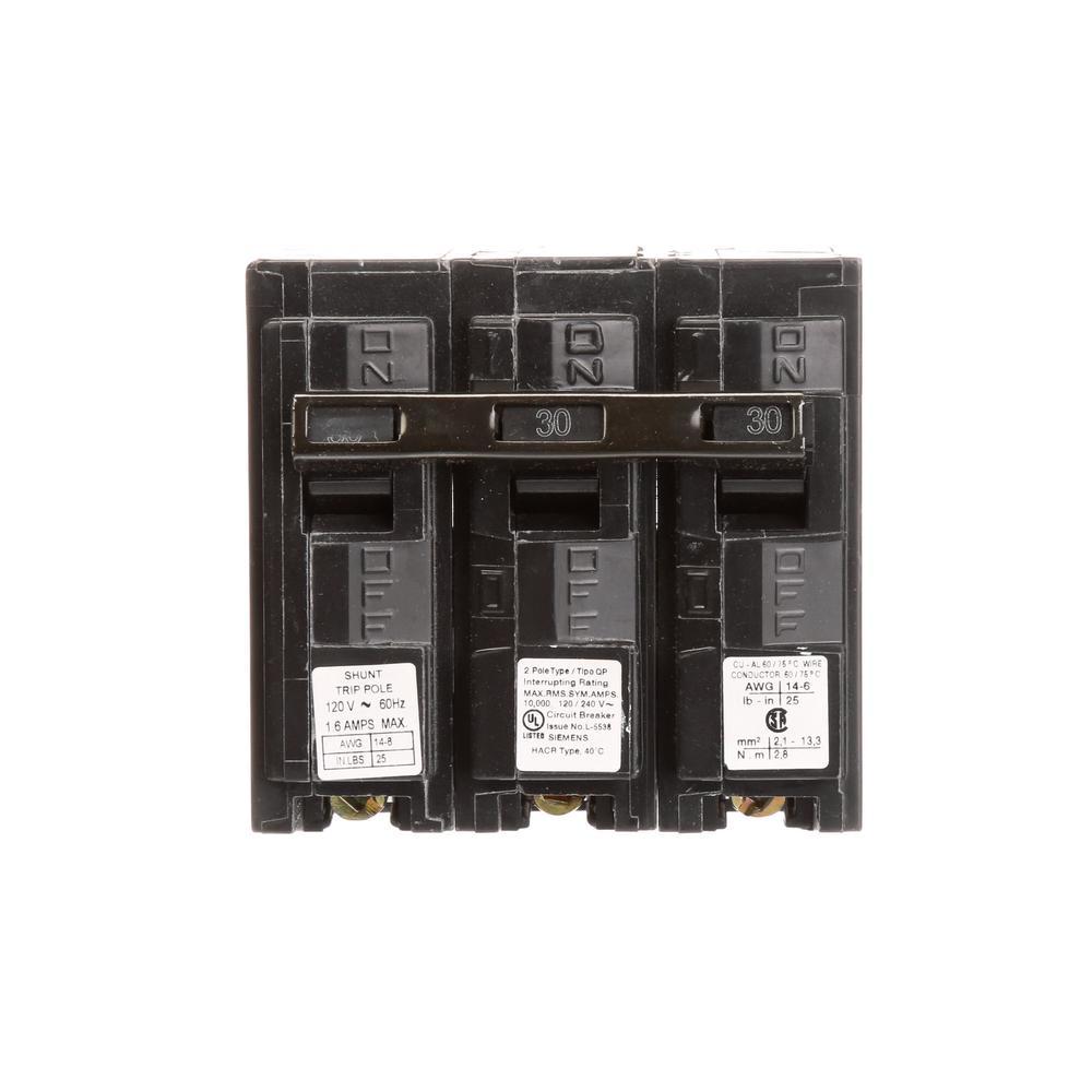 Siemens 30 Amp 2-Pole QP 10 kA Circuit Breaker with Shunt Trip
