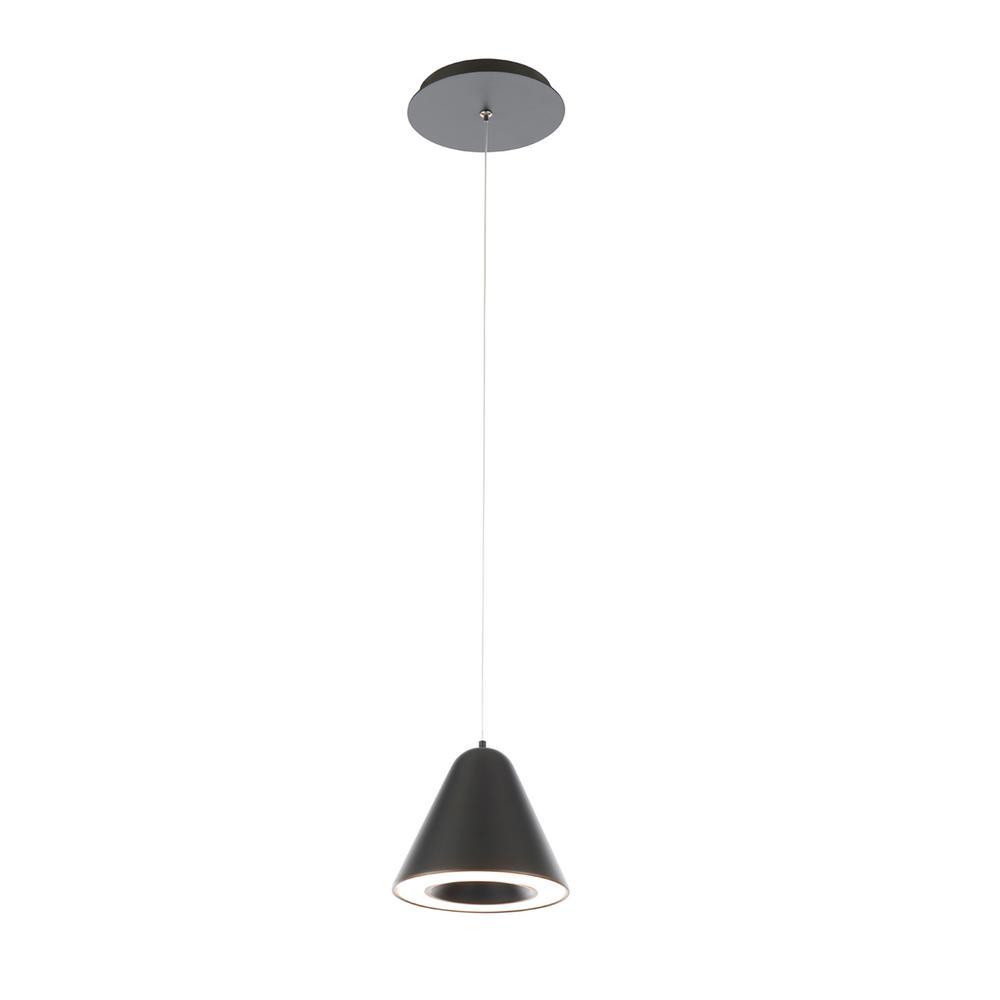 Wac Lighting Kone 100 Watt Equivalent Integrated Led Black Mini Pendant With Pc Shade Pd 72006 Bk The Home Depot
