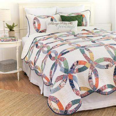 Blue Heritage Wedding Ring Twin Quilt St