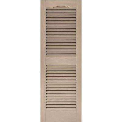 15 in. x 43 in. Louvered Vinyl Exterior Shutters Pair in #023 Wicker
