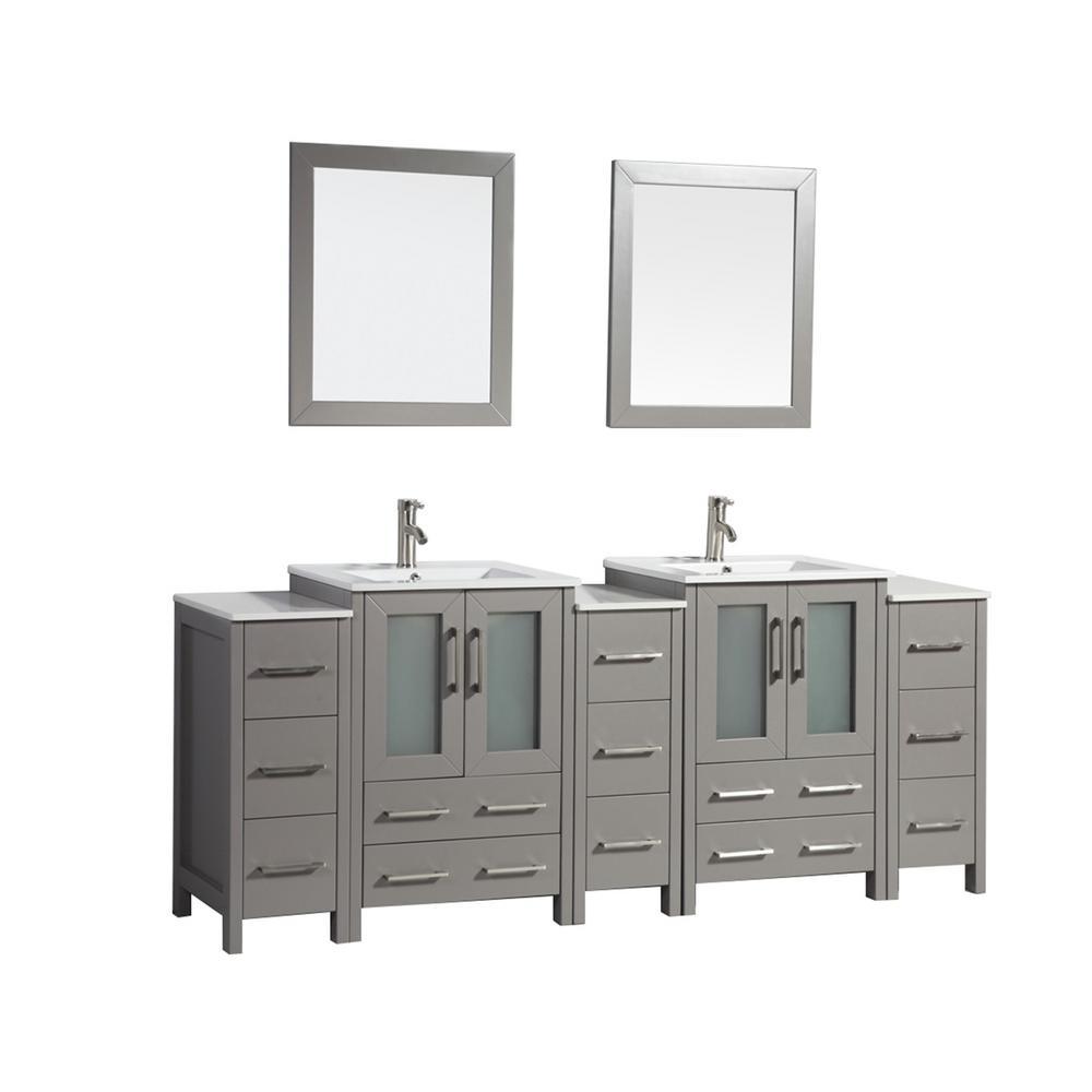 Vanity Art Brescia 84 in. W x 18 in. D x 36 in. H Bath Vanity in Grey with Vanity Top in White with White Basin and Mirror