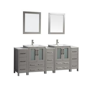 Brescia 84 in. W x 18 in. D x 36 in. H Bath Vanity in Grey with Vanity Top in White with White Basin and Mirror