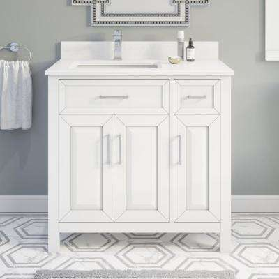 Terrence 36 in. W x 22 in. D Bath Vanity in White ENGRD Stone Vanity Top in White with White Basin Power Bar-Organizer