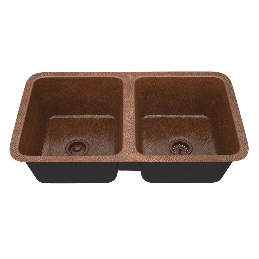 Demonte Undermount Handmade Copper 32 in. 50/50 Double Bowl Kitchen Sink in Hammered Antique Copper