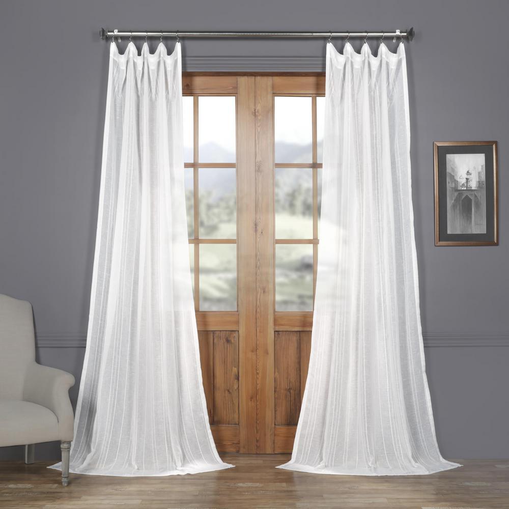 Bordeaux White Striped Linen Sheer Curtain - 50 in. W x 108 in. L