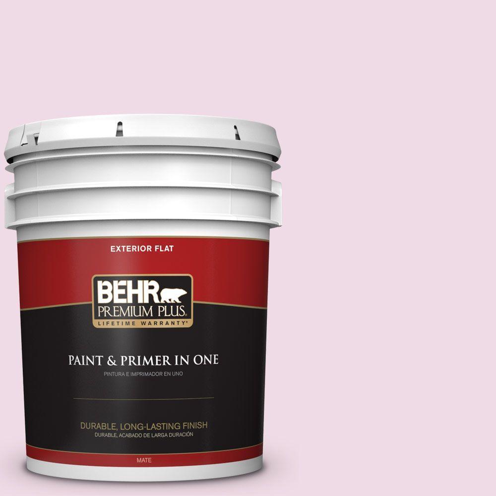 BEHR Premium Plus 5-gal. #M130-1 Pink Posies Flat Exterior Paint
