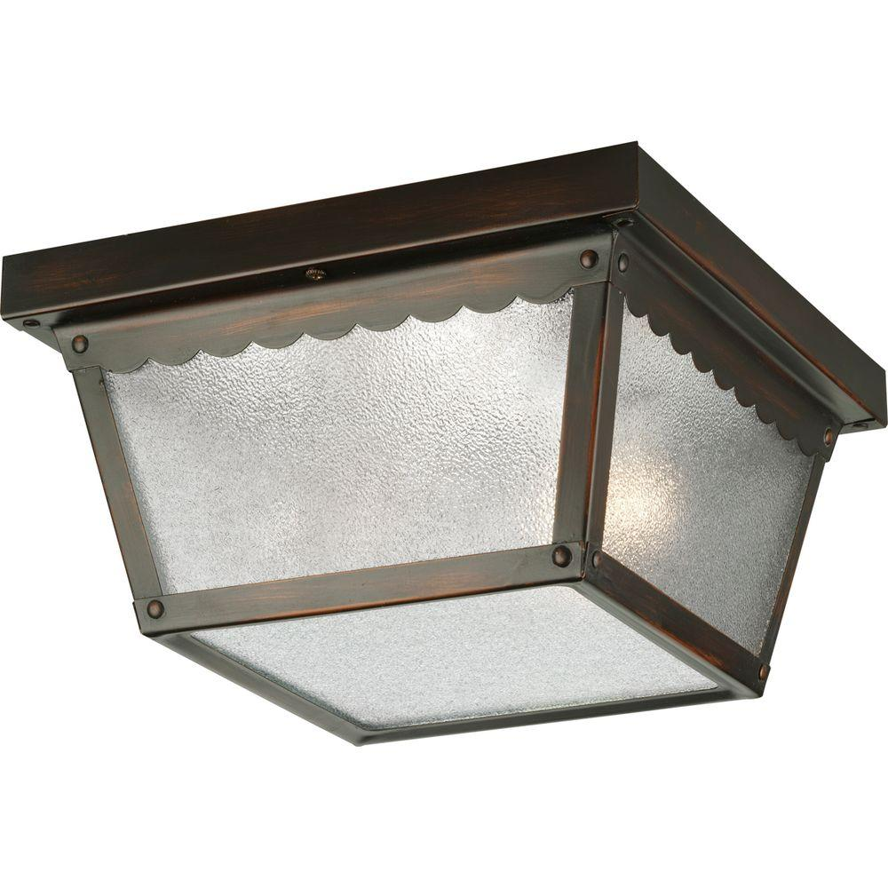 Progress Lighting 2 Light Antique Bronze Outdoor Flushmount