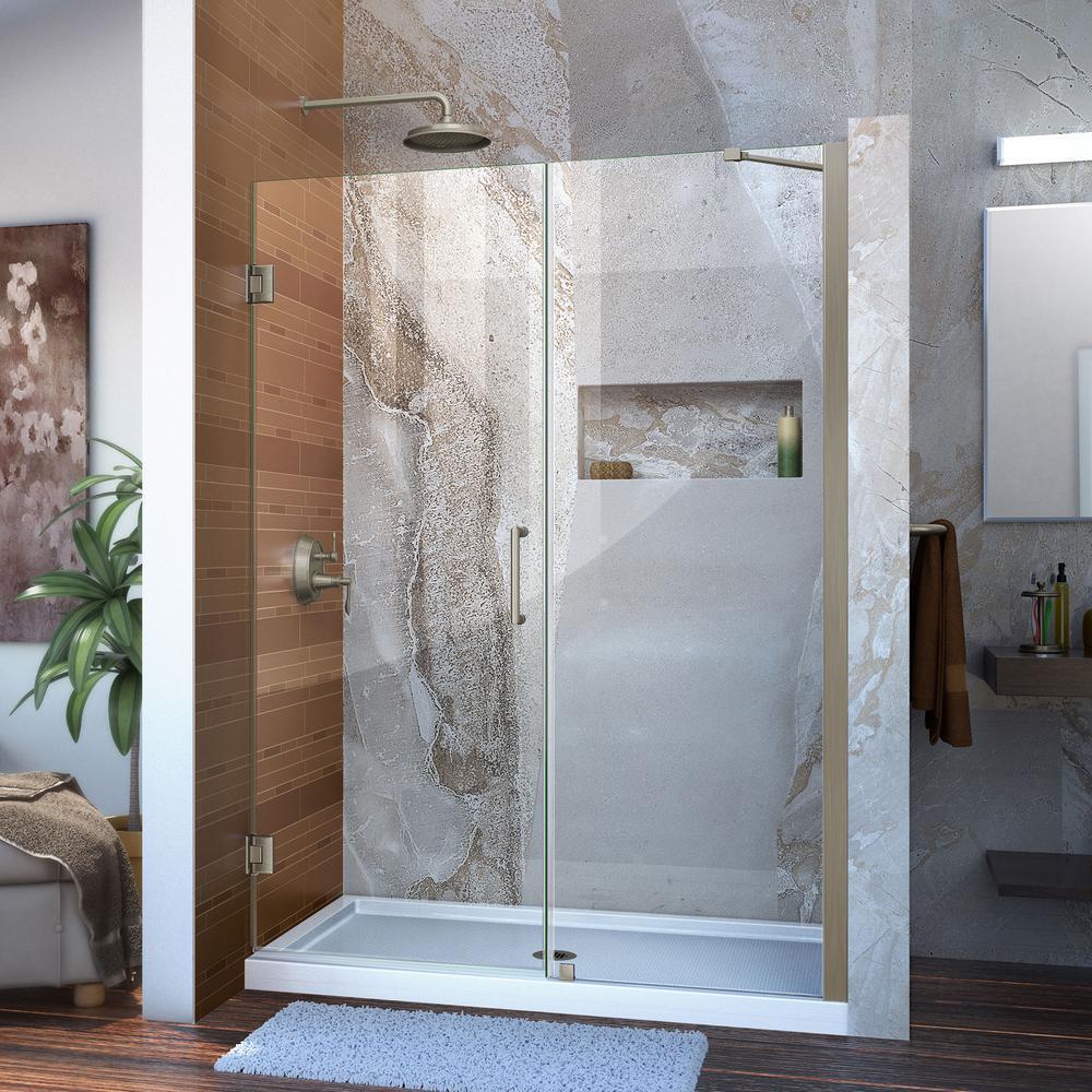 Unidoor 52 to 53 in. x 72 in. Frameless Hinged Shower Door in Brushed Nickel