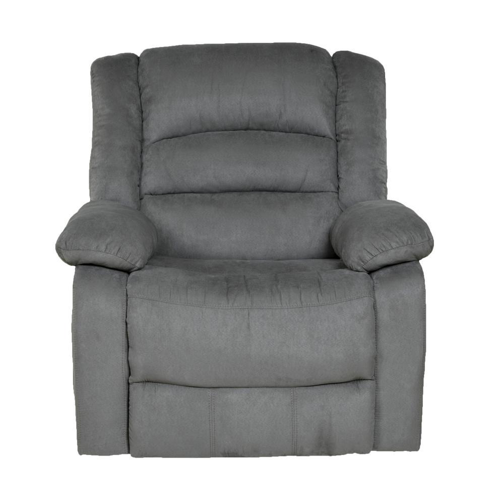 Relaxzen Longstreet Grey Microfiber Massage Rocker Recliner With Heat And Dual Usb 60 701004m The Home Depot