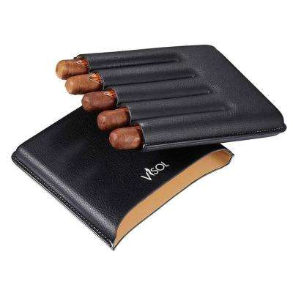 Dakota Black Cigar Case Holds 5-Large Ring Gauge Cigar Case