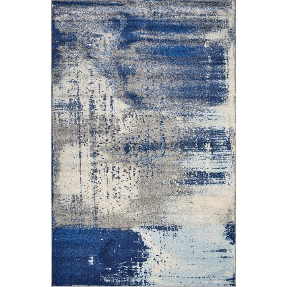 Kas Rugs Watercolors Ice Blue Flow 3 ft. x 5 ft. Area Rug