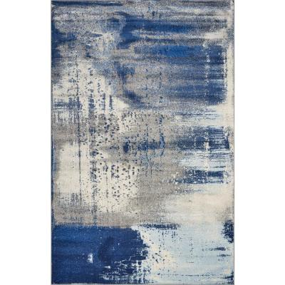 Watercolors Ice Blue Flow 3 ft. x 5 ft. Area Rug