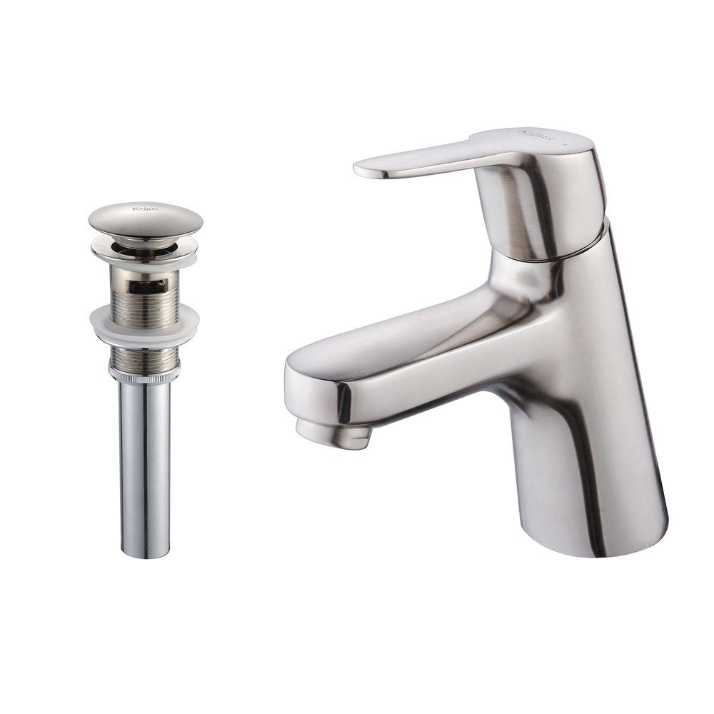 KRAUS Ferus Single Hole 1-Handle Low Arc Bathroom Faucet and Pop Up Drain with Overflow in Brushed Nickel