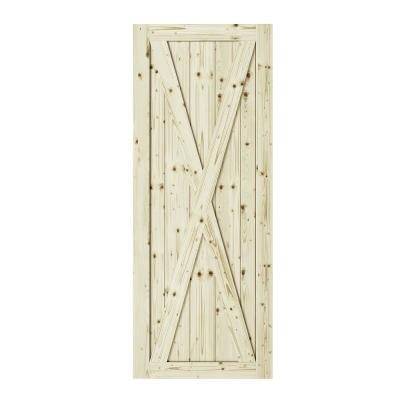 33 in. x 84 in. Station X-Brace Unfinished Knotty Pine Interior Barn Door Slab