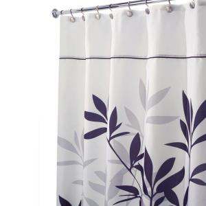 interDesign Leaves Stall-Size Shower Curtain in Black and Gray by interDesign