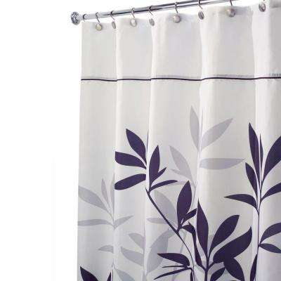 Leaves Stall-Size Shower Curtain in Black and Gray