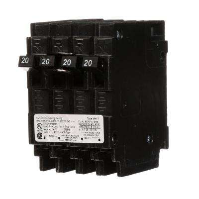 Triplex Two Outer 20 Amp Single-Pole and One Inner 20 Amp Double-Pole Circuit Breaker
