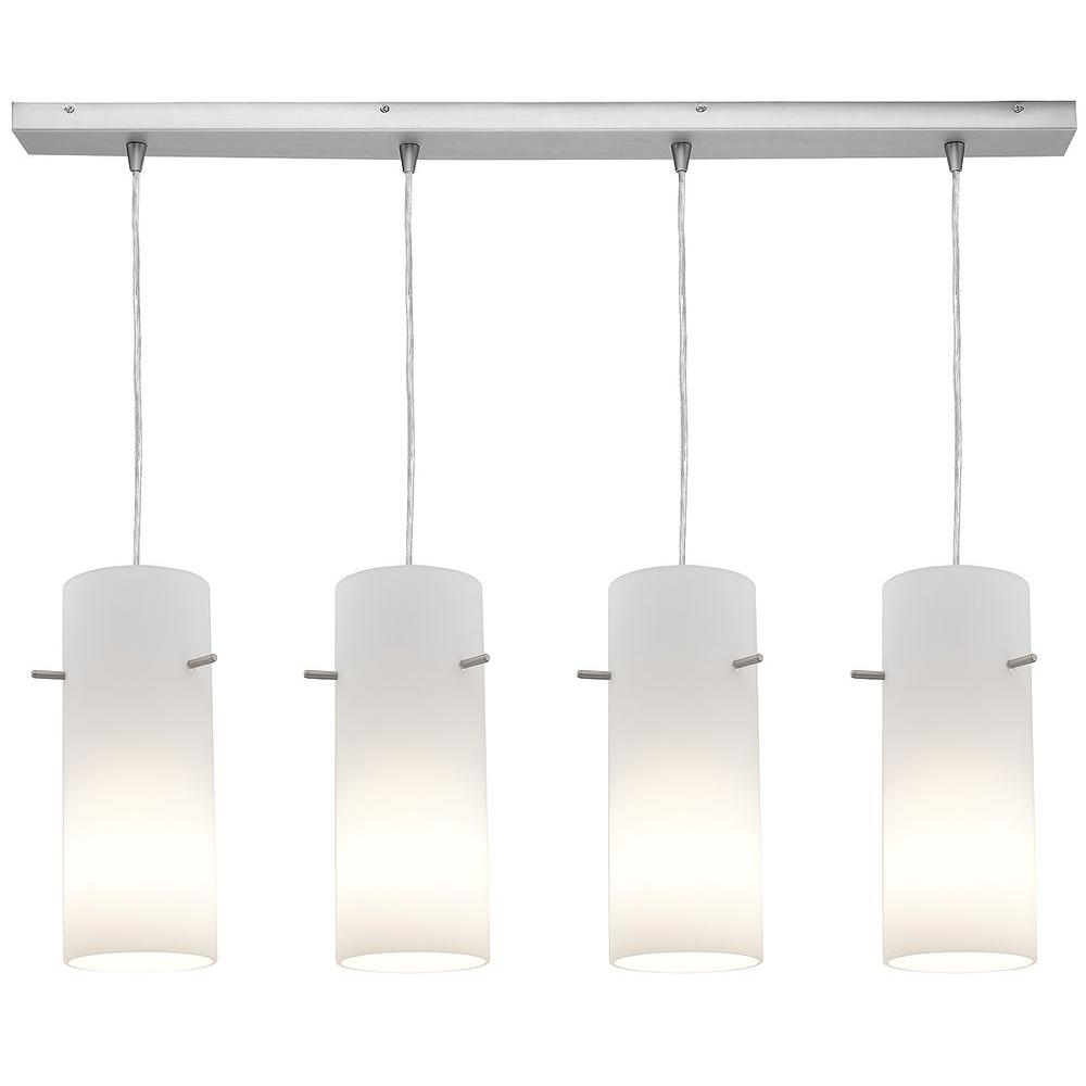 Access Lighting 4-Light Pendant Brushed Steel Finish Opal Glass-DISCONTINUED
