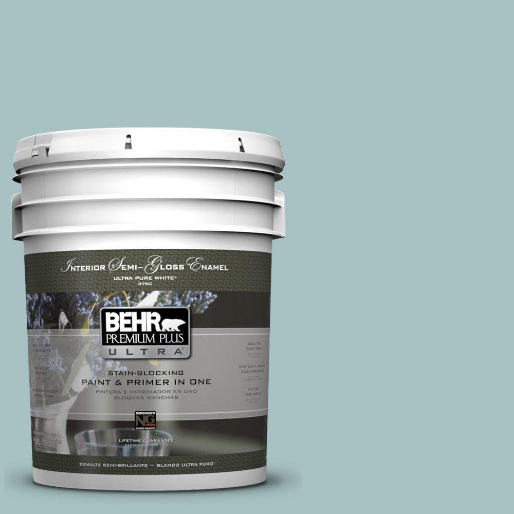 5-gal. #500F-4 Swan Sea Semi-Gloss Enamel Interior Paint