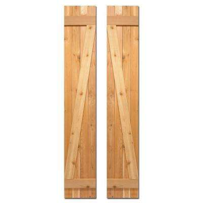 12 in. x 60 in. Board-N-Batten Baton Z Shutters Pair Natural Cedar