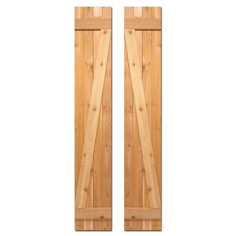 12 in. x 60 in. Board-N-Batten Baton Z Shutters Pair Natural Cedar
