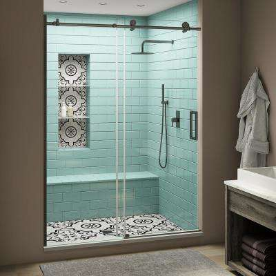 Coraline XL 64 - 68 in. x 80 in. Frameless Sliding Shower Door with StarCast Clear Glass in Oil Rubbed Bronze Right Hand