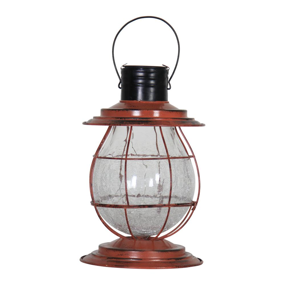 Exhart Solar Firefly 10 In Rust Lantern Light With Base