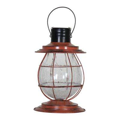 Solar Firefly 10 in. Rust Lantern Light with Base