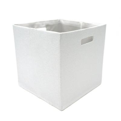 12 in. L x 12 in. W x 12 in. H White Fabric Foldable Storage Cube (Set of 2)
