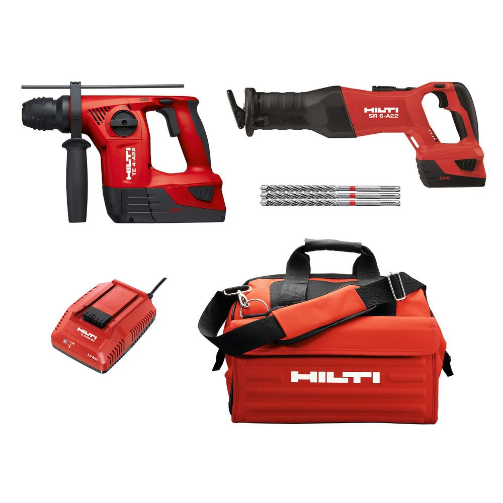 22-Volt Lithium-Ion Cordless Rotary Hammer Drill and Brushless Reciprocating Saw
