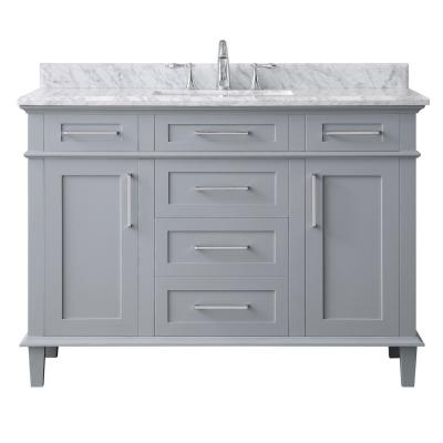 Sonoma 48 in. W x 22 in. D Vanity in Pebble Grey with Marble Vanity Top in Carrara with White Basin