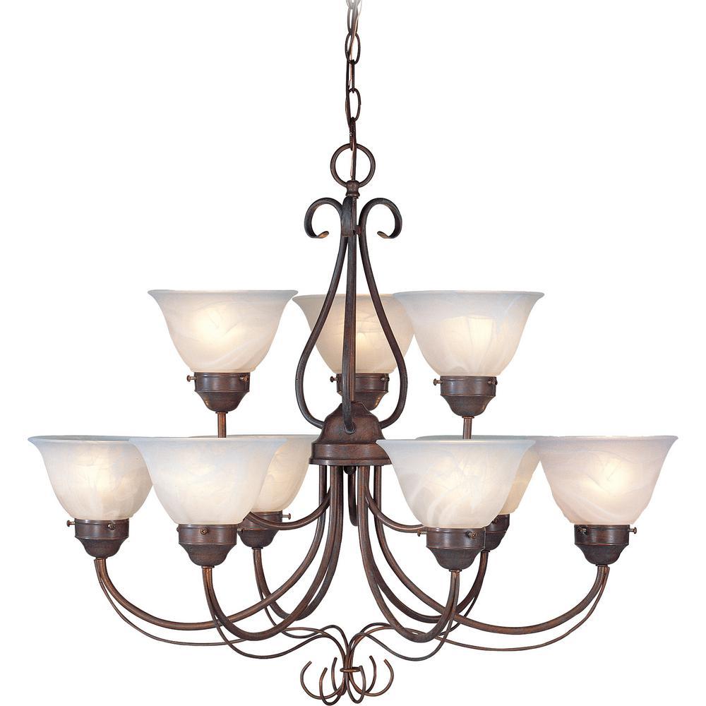 Minster 9-Light Interior/Indoor Prairie Rock Hanging Chandelier with Alabaster Glass Bell Shades