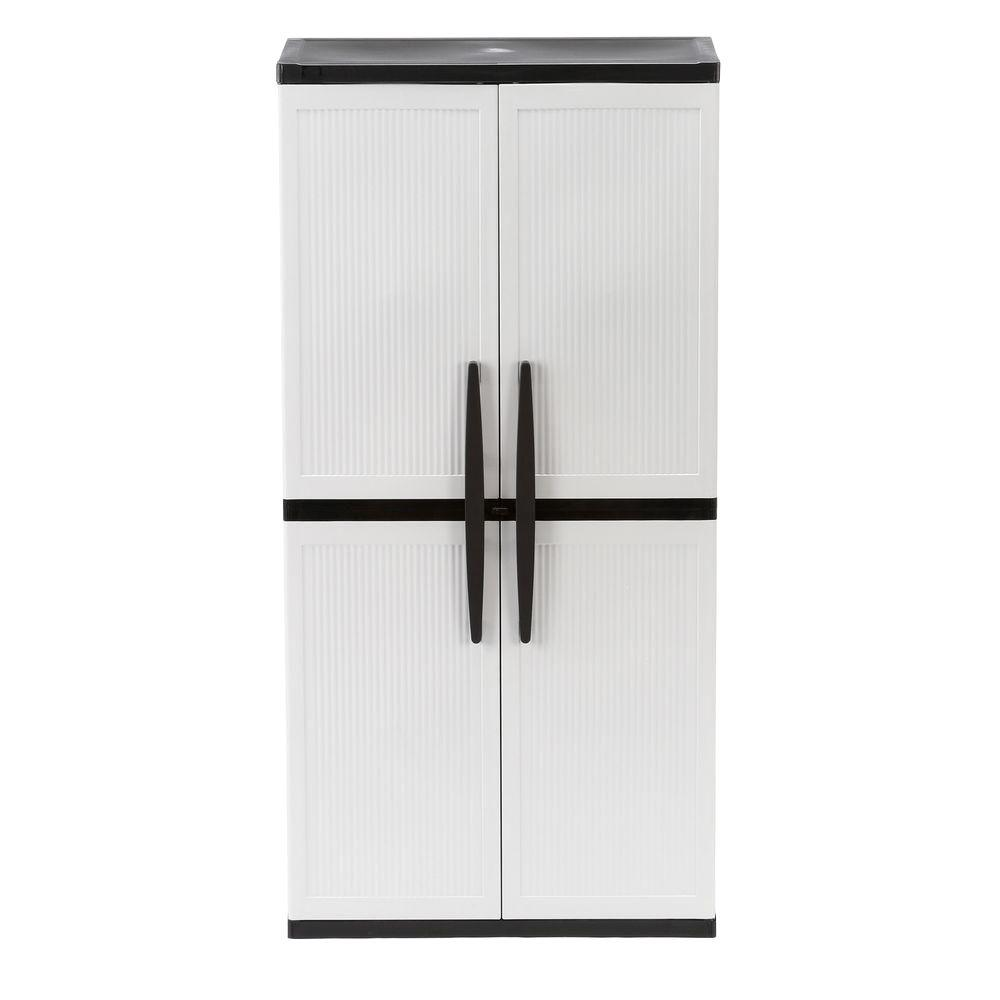 HDX 35 in. W 4 Shelf Plastic Multi-Purpose Cabinet in Gray