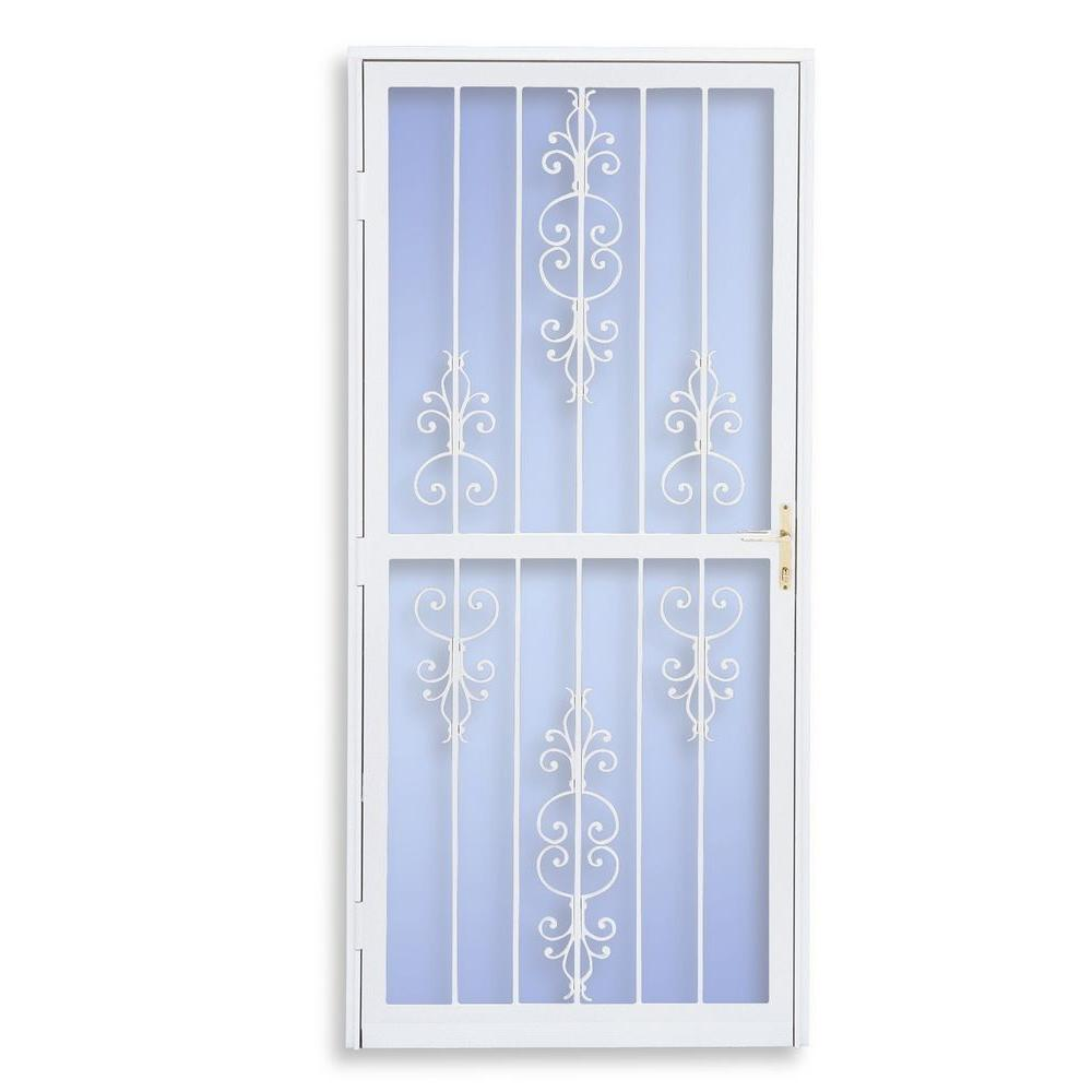 Grisham 30 in. x 80 in. 309 Series White Prehung Heritage Steel Security Door