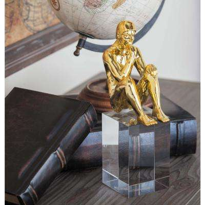 Thinking Human Polystone Sculpture with Glass Base